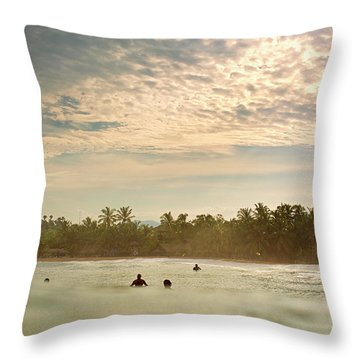 Sunrise Surfers Throw Pillow