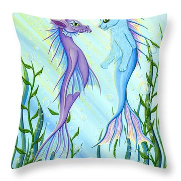 Sunrise Swim - Sea Dragon Mermaid Cat Throw Pillow