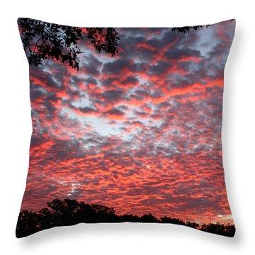 Sunrise Through The Trees Throw Pillow