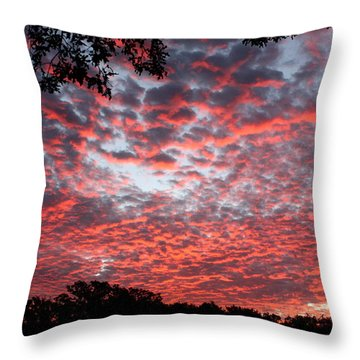 Sunrise Through The Trees Throw Pillow by Sheila Brown