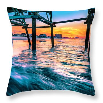 Sunrise Under Cherry Grove Pier Throw Pillow