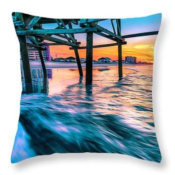 Sunrise Under Cherry Grove Pier Throw Pillow