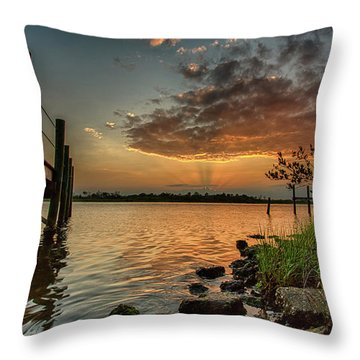 Sunrise Under The Dock Throw Pillow