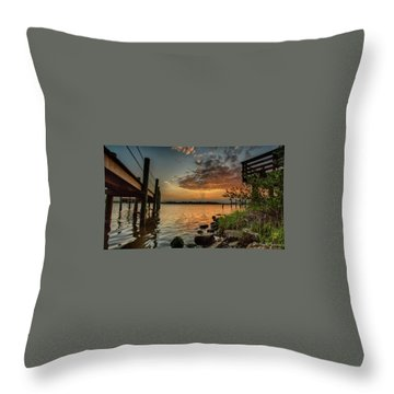 Sunrise Under The Dock Throw Pillow