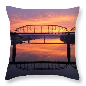 Sunrise Walnut Street Bridge 2 Throw Pillow