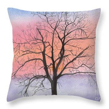 Sunrise Walnut Tree 2 Watercolor Painting Throw Pillow