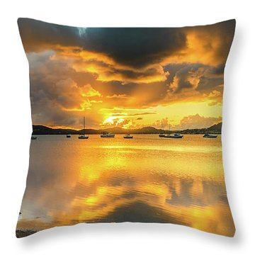 Sunrise Waterscape With Reflections Throw Pillow