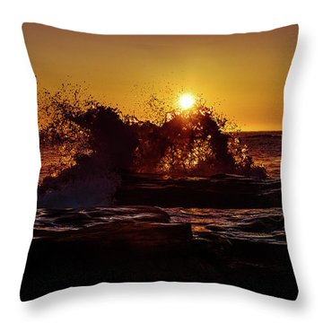 Throw Pillow featuring the photograph Sunrise Waves Crash  by Chris Bordeleau