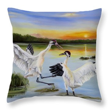 Sunrise Whooping Cranes Throw Pillow