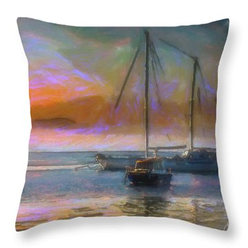 Sunrise With Boats Throw Pillow