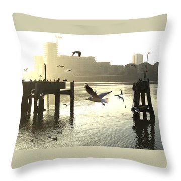 Sunrise With Seagulls Throw Pillow