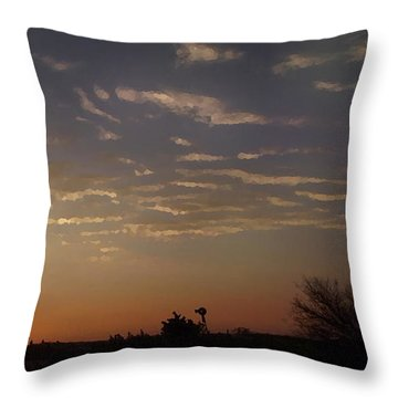 Sunrise With Windmill Throw Pillow