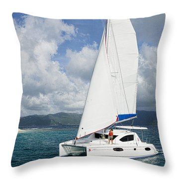 Sunsail Catamaran Throw Pillow