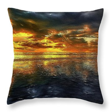 Sunset #95 Or Sunset Over The Atlantic. Throw Pillow