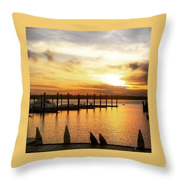 Sunset Over Marina Throw Pillow
