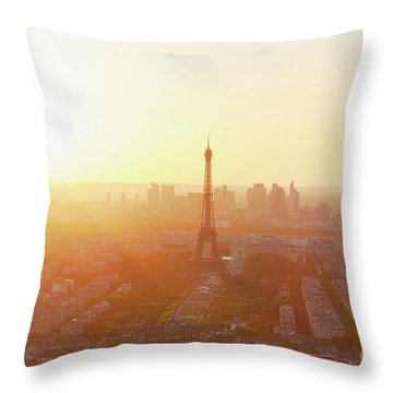 Sunset Above Paris Throw Pillow