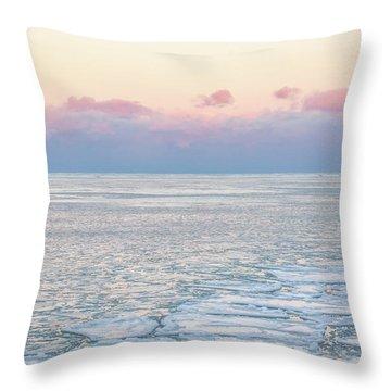 Sunset Across The Frozen Lake Throw Pillow