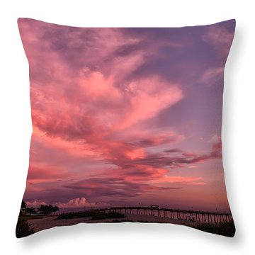 Sunset Afterglow At The Pier Throw Pillow