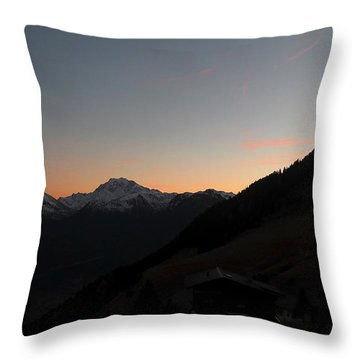 Sunset Afterglow In The Mountains Throw Pillow