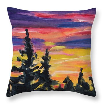 Throw Pillow featuring the painting Sunset Alaska by Yulia Kazansky