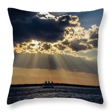 Sunset And A Three Masted Schooner Throw Pillow