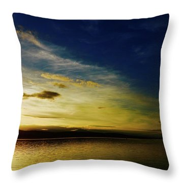 Sunset And Buoy Over Vancouver Island Throw Pillow