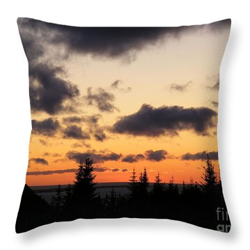 Sunset And Dark Clouds Throw Pillow by Barbara Griffin