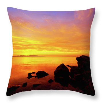 Sunset And Fire Throw Pillow by Chad Dutson