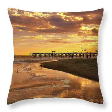 Sunset And Gulls Throw Pillow by Kathy Baccari