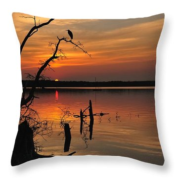 Throw Pillow featuring the photograph Sunset And Heron by Angel Cher