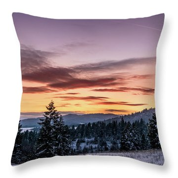 Sunset And Mountains Throw Pillow
