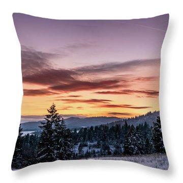 Sunset And Mountains Throw Pillow