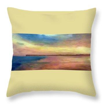 Sunset And Pier Throw Pillow