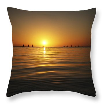 Sunset And Sailboats Throw Pillow by Brandon Tabiolo - Printscapes