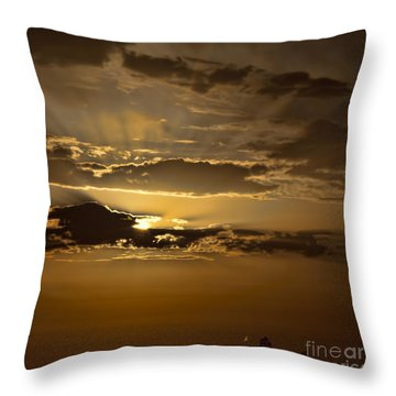 Throw Pillow featuring the photograph Sunset And Sanpan by Shirley Mangini