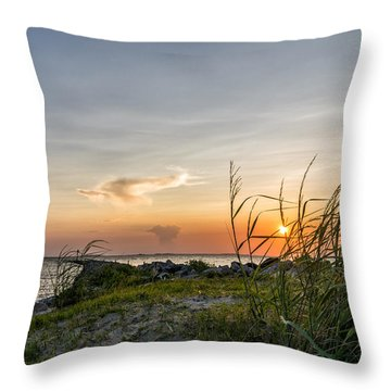 Sunset And Sea Oats Throw Pillow