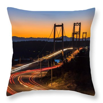 Sunset And Streaks Of Light - Narrows Bridges Tacoma Wa Throw Pillow