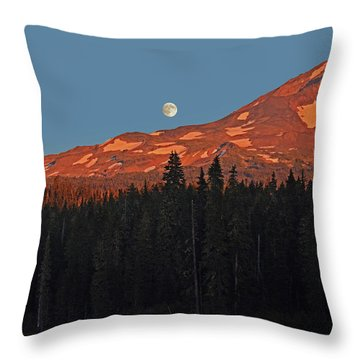 Sunset And Sunrise At Mt Adams Throw Pillow by Jack Moskovita