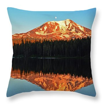 Sunset And Sunrise Mt Adams Throw Pillow by Jack Moskovita