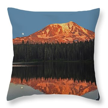 Sunset And Moonrise At Takhlakh Lake Throw Pillow by Jack Moskovita