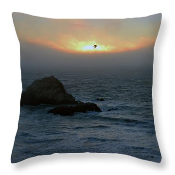 Sunset With The Bird Throw Pillow