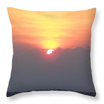 Throw Pillow featuring the photograph Sunset And The Storm by Sandi OReilly