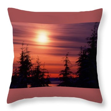 Sunset And Trees Two  Throw Pillow by Lyle Crump