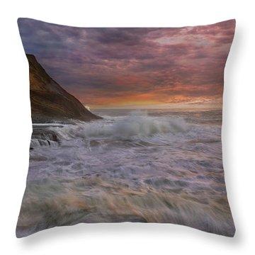 Sunset And Waves At Cape Kiwanda Throw Pillow by David Gn
