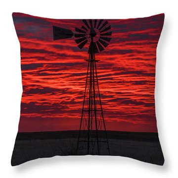 Throw Pillow featuring the photograph Sunset And Windmill 02 by Rob Graham