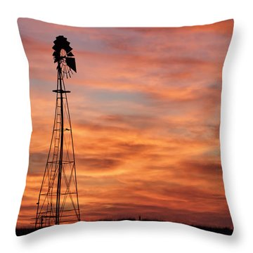 Sunset And Windmill 04 Throw Pillow by Rob Graham