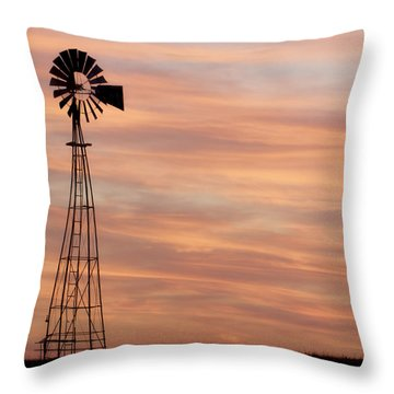 Sunset And Windmill 05 Throw Pillow