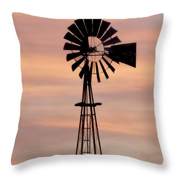 Sunset And Windmill 06 Throw Pillow