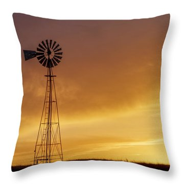 Throw Pillow featuring the photograph Sunset And Windmill 09 by Rob Graham