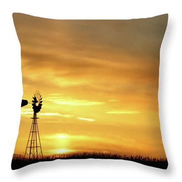 Throw Pillow featuring the photograph Sunset And Windmill 11 by Rob Graham